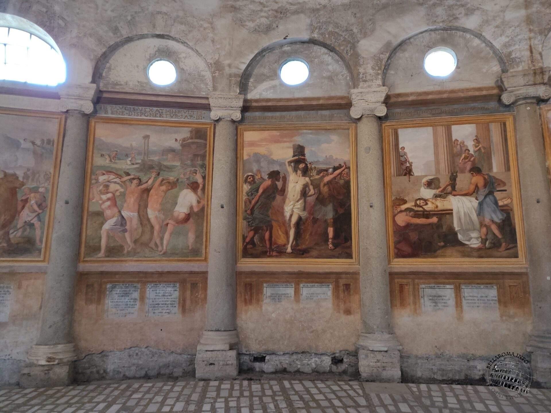 Pomarancio, affreschi con scene del martirologio, Interno, Chiesa di Santo Stefano Rotondo, Roma